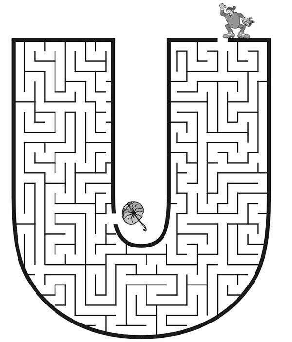 Learn Capital Letter U Maze Coloring Page