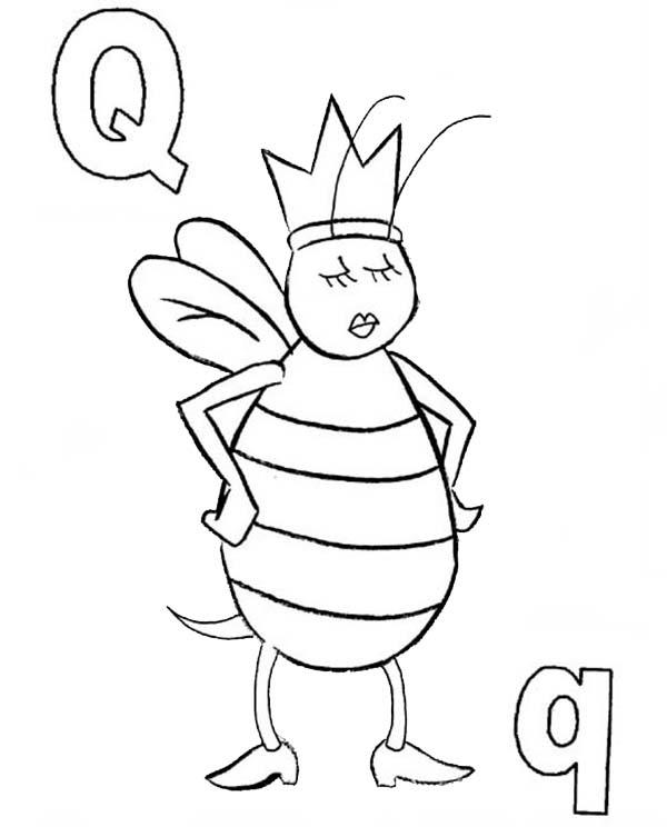 Learn Letter Q Is For Queen Letter Q Coloring Page