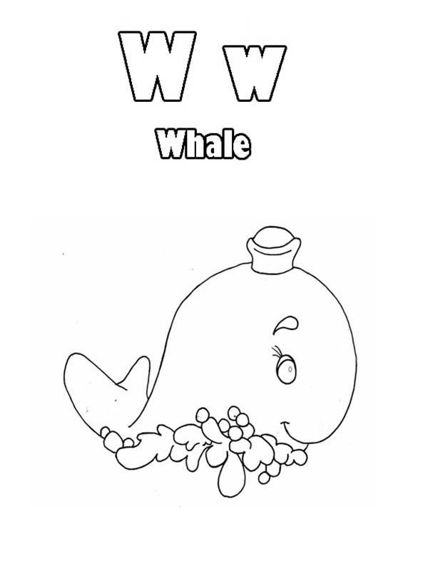 Learn Letter W Coloring Page Animal Edition