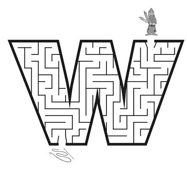 Learn Letter W Maze Coloring Page