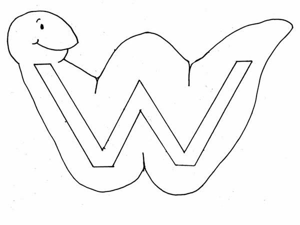 Learn Letter W With Worm Coloring Page