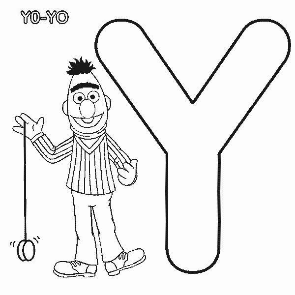 Learn Letter Y For Yo Yo In Sesame Street Coloring Page