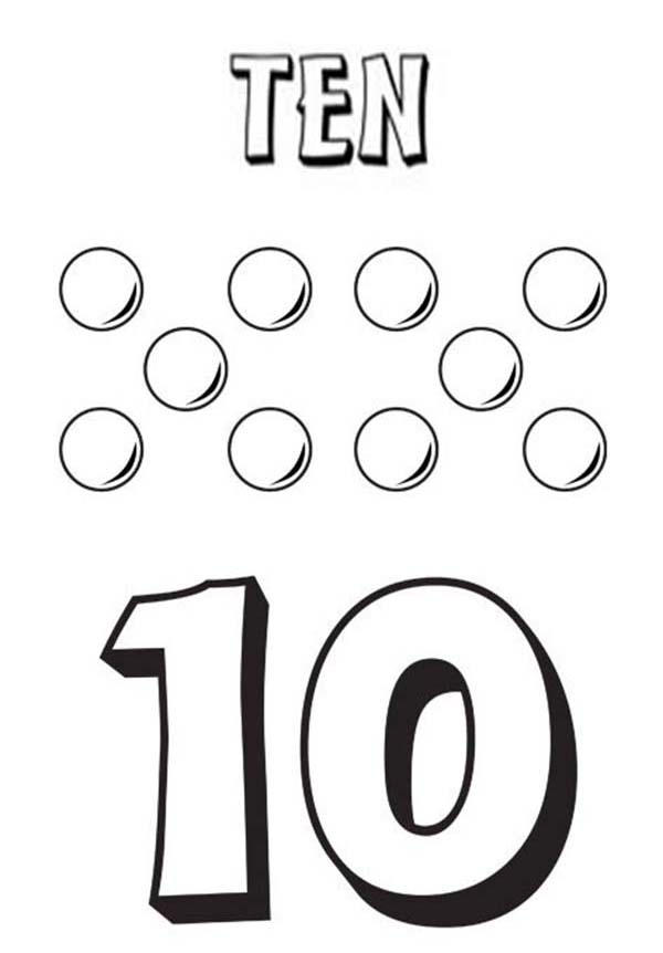 Learn Number 10 With Ten Balls Coloring Page