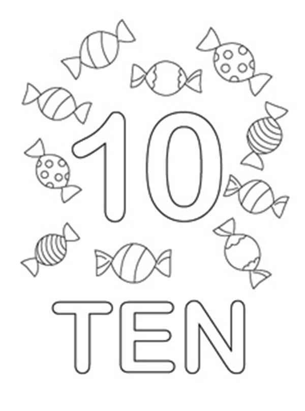 Learn Number 10 With Ten Candies Coloring Page
