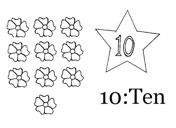 Learn Number 10 With Ten Flowers Coloring Page