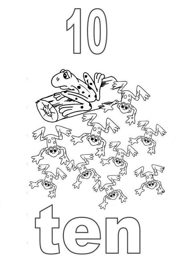 Learn Number 10 With Ten Frogs Coloring Page