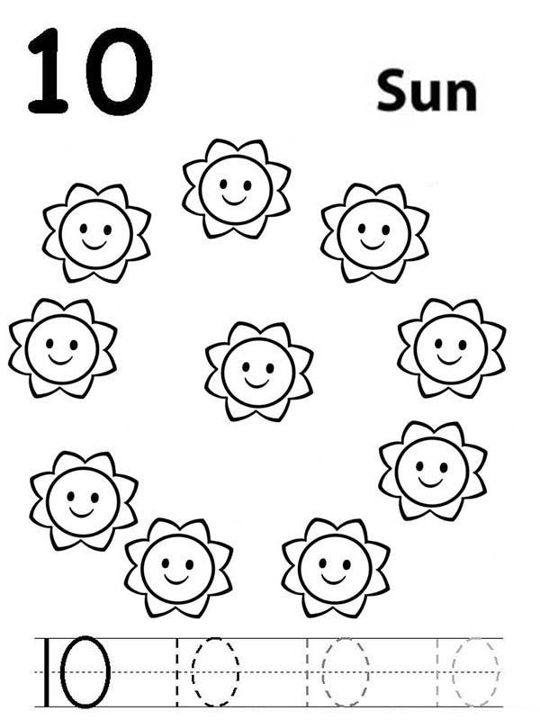 Learn Number 10 With Ten Suns Coloring Page