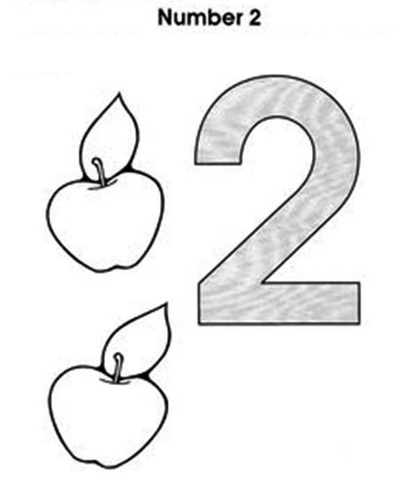Learn Number 2 With Two Apples Coloring Page