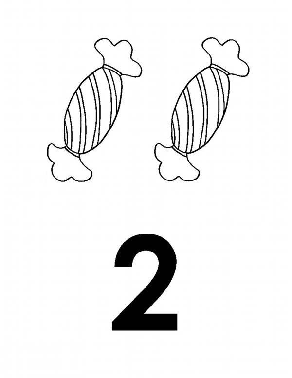 Learn Number 2 With Two Candies Coloring Page
