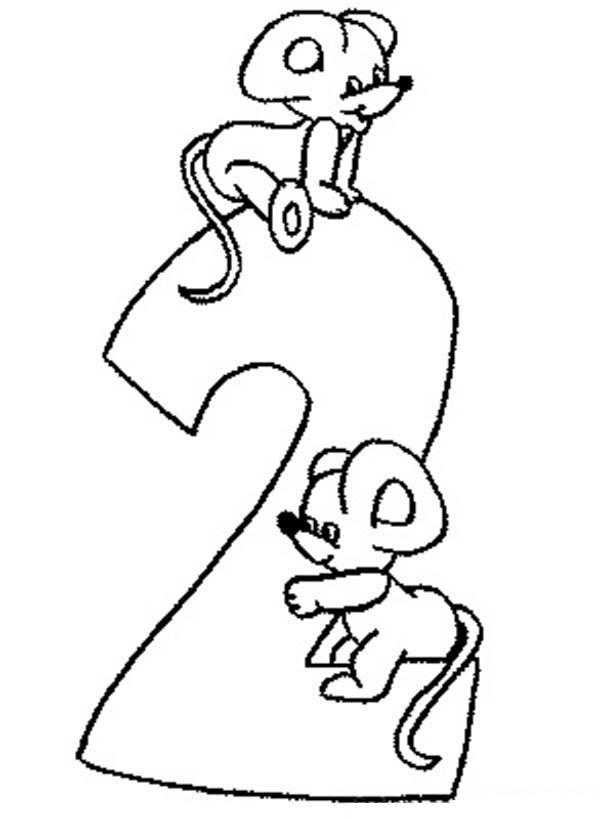 Learn Number 2 With Two Rats Coloring Page