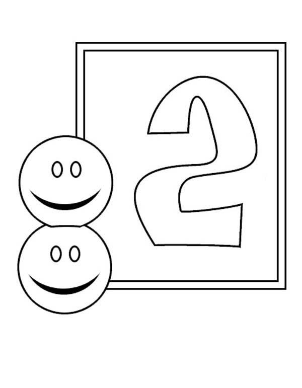 Learn Number 2 With Two Smiley Faces Coloring Page