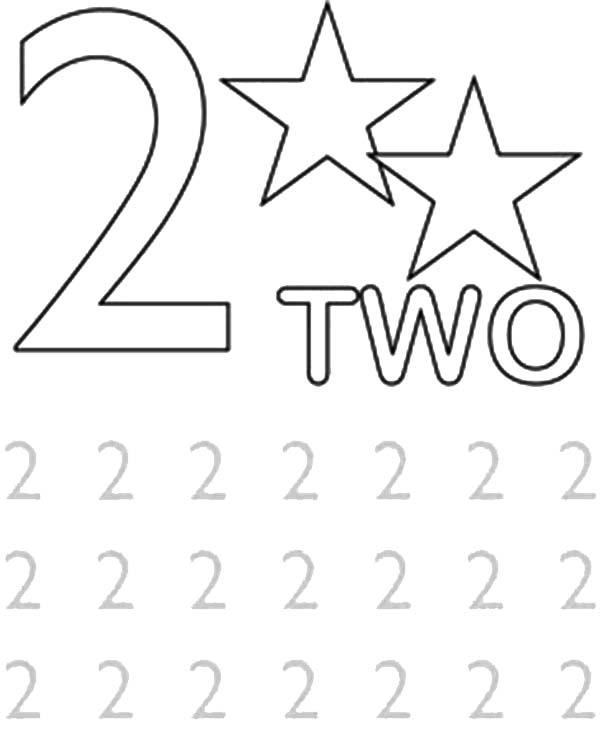 Learn Number 2 With Two Strars Coloring Page