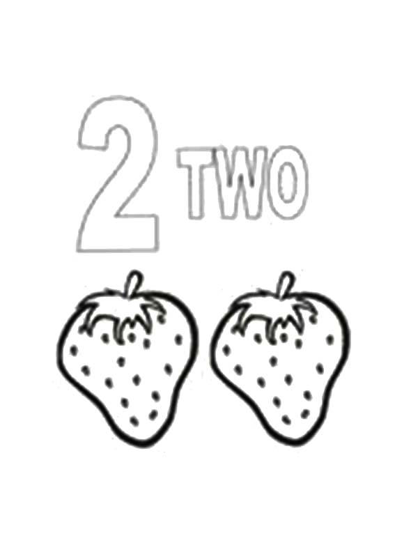 Learn Number 2 With Two Strawberries Coloring Page