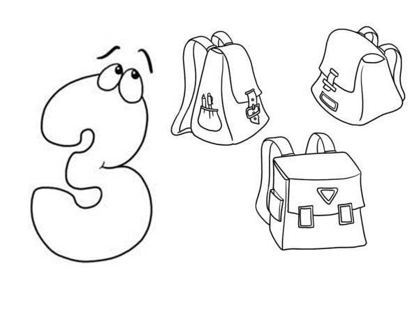 Learn Number 3 With Three Bags Coloring Page