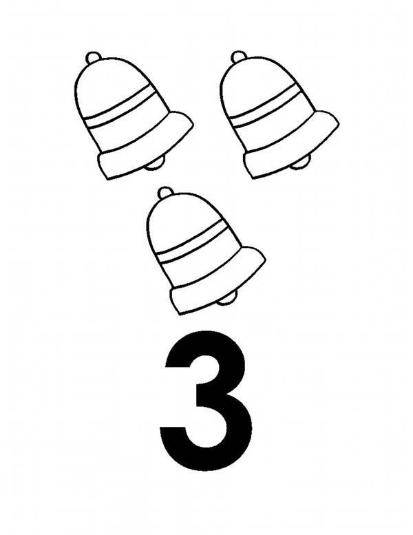 Learn Number 3 With Three Bells Coloring Page