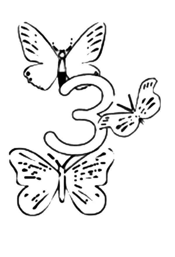 Learn Number 3 With Three Butterflies Coloring Page