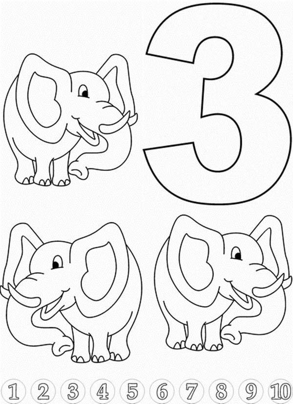 Learn Number 3 With Three Elephants Coloring Page