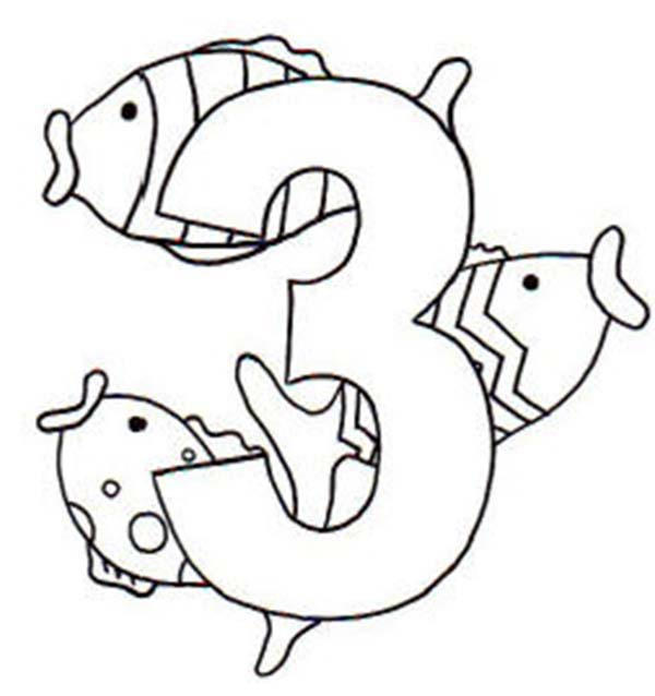 Learn number 3 with three fishes coloring page