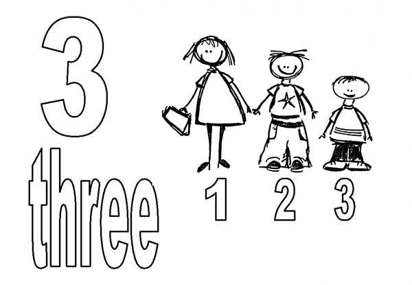 Learn Number 3 With Three Kids Coloring Page