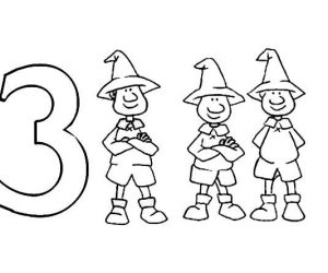Learn number 3 with three man coloring page
