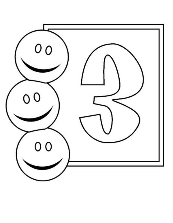 Learn Number 3 With Three Smiley Faces Coloring Page