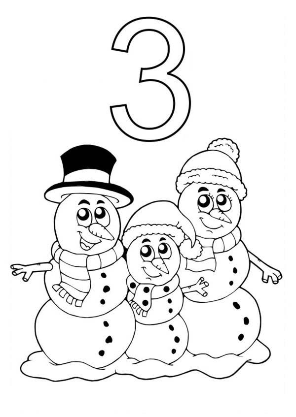 Learn Number 3 With Three Snowman Coloring Page