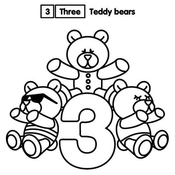 Learn Number 3 With Three Teddy Bears Coloring Page