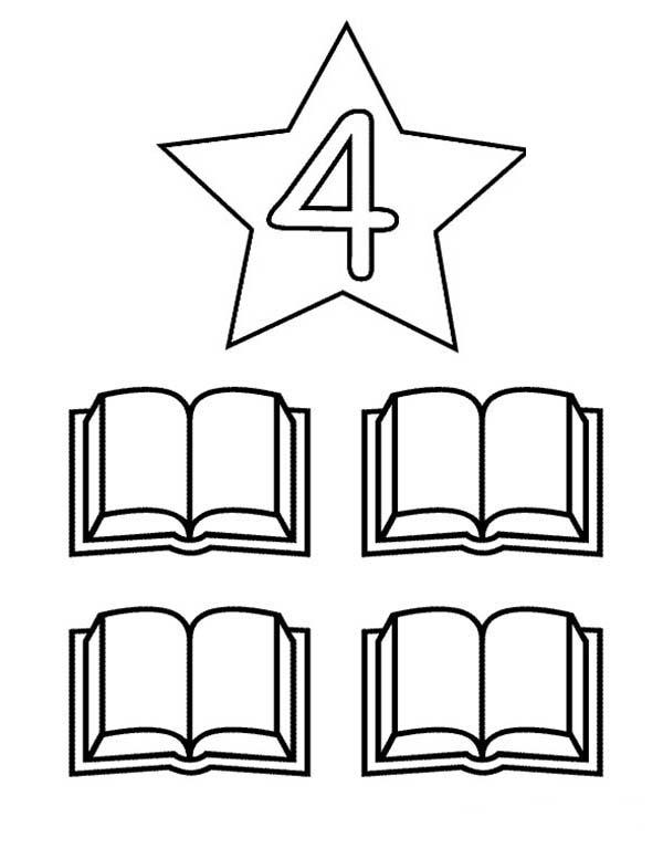 Learn Number 4 With Four Books Coloring Page