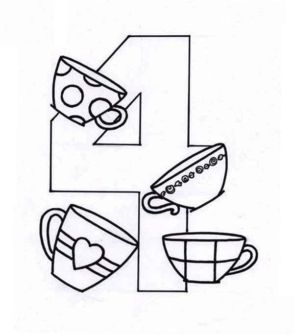 Learn Number 4 With Four Cups Coloring Page