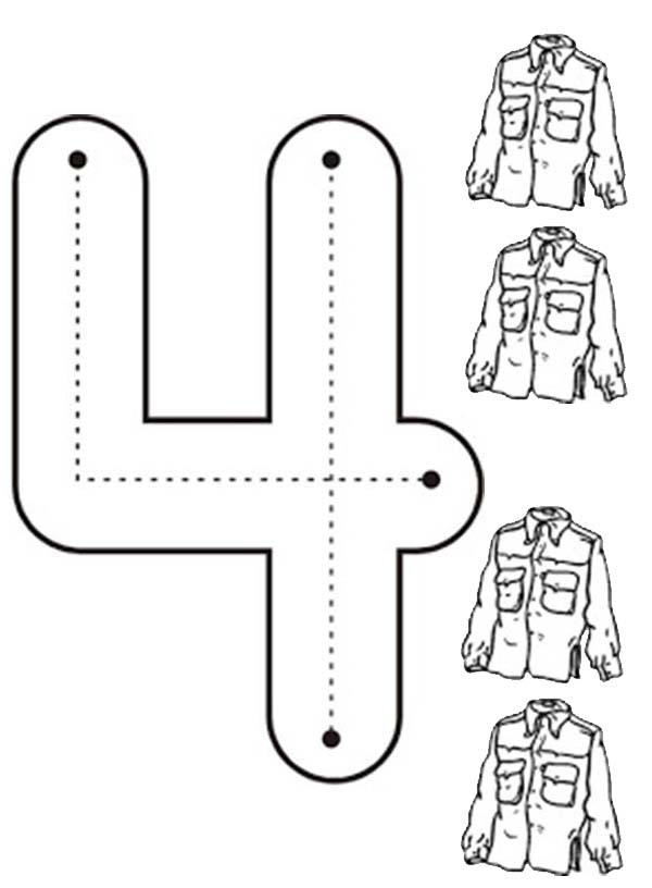 Learn Number 4 With Four Jackets Coloring Page