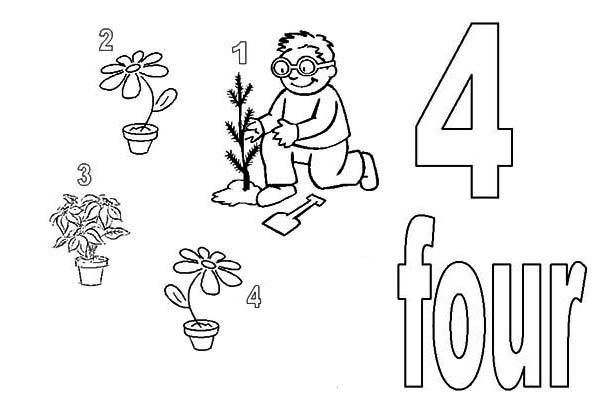 Learn Number 4 With Four Plants Coloring Page