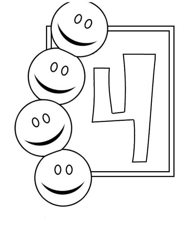 Learn Number 4 With Four Smiley Faces Coloring Page
