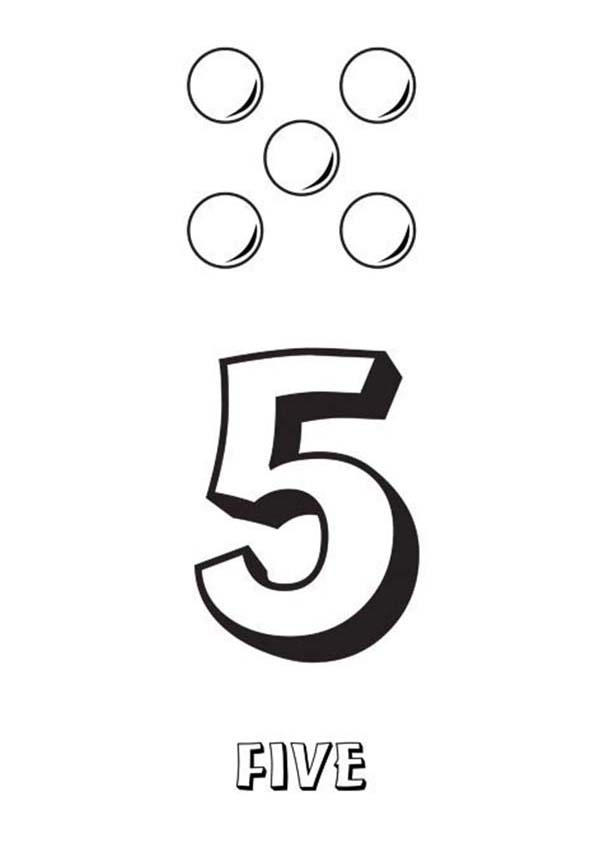 Learn Number 5 With Five Balls Coloring Page