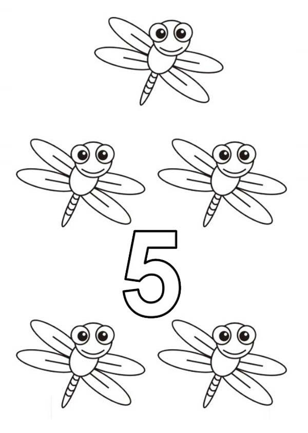 Learn Number 5 With Five Dragon Flies Coloring Page