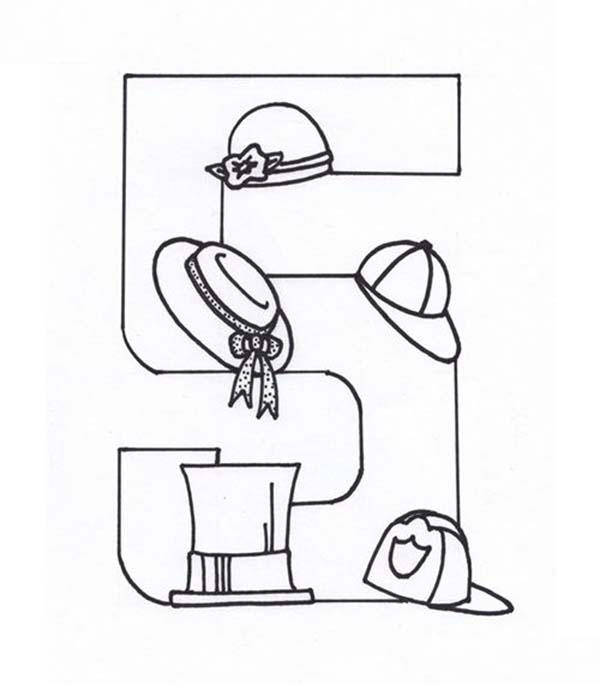 Learn Number 5 With Five Hats Coloring Page