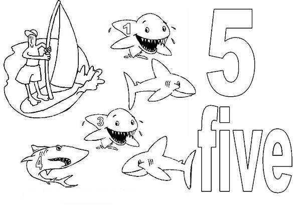 Learn Number 5 With Five Sharks Coloring Page