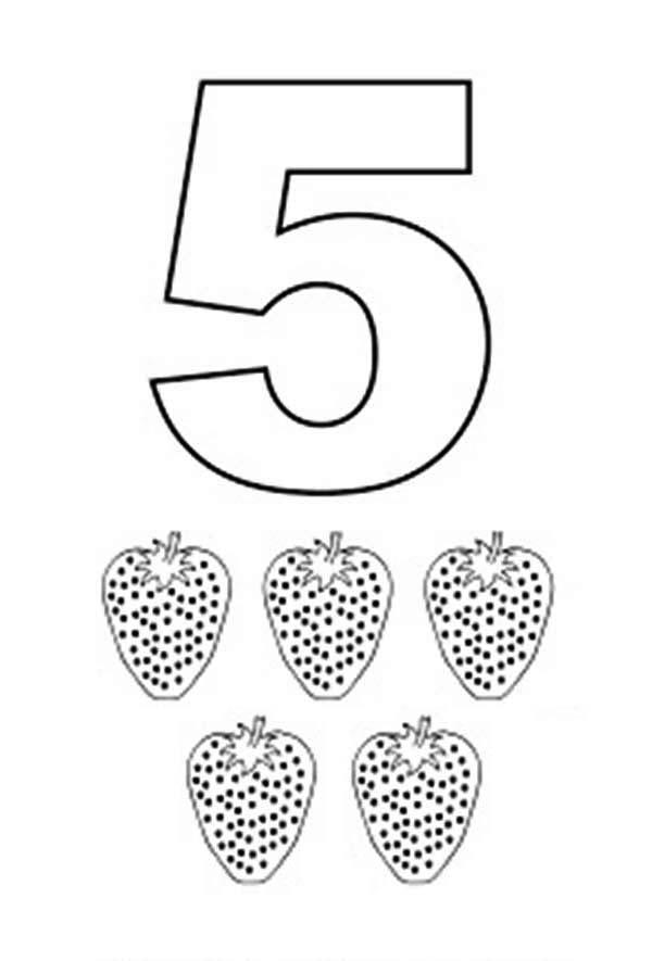 Learn Number 5 With Five Strawberries Coloring Page