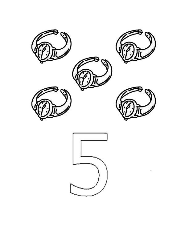 Learn Number 5 With Five Watches Coloring Page