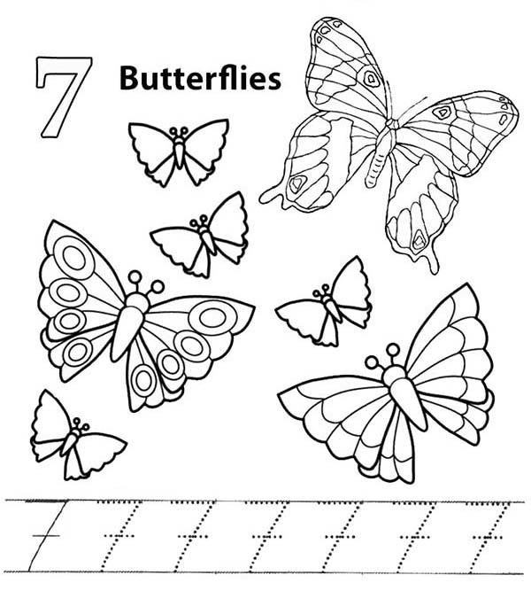 Learn Number 7 With Seven Butterflies Coloring Page