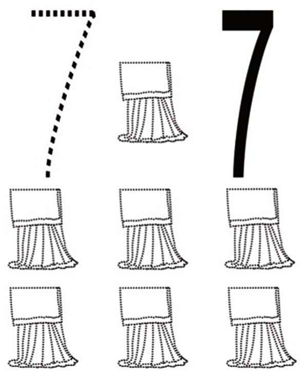 Learn Number 7 With Seven Curtains Coloring Page