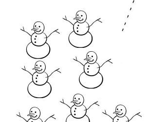 Learn number 7 with seven snowman coloring page