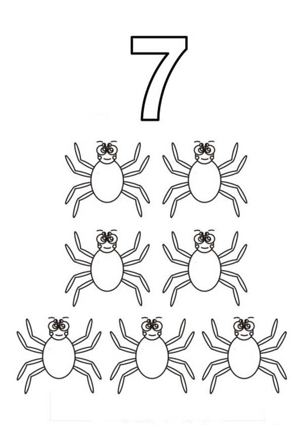Learn Number 7 With Seven Spiders Coloring Page
