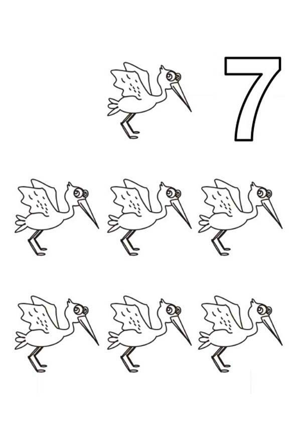 Learn Number 7 With Seven Storks Coloring Page