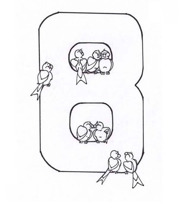 Learn Number 8 With Eight Bids Coloring Page