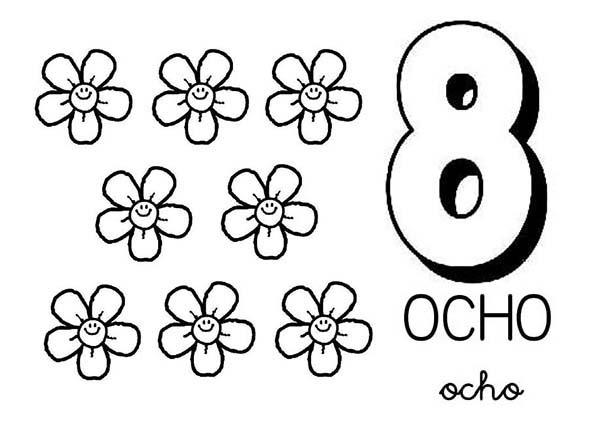Learn Number 8 With Eight Flower Coloring Page