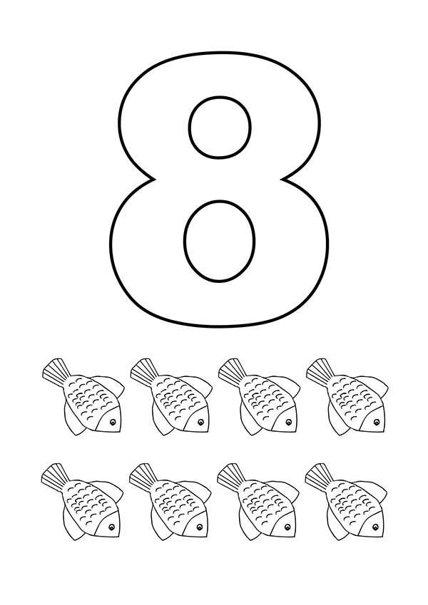 Learn Number 8 With Eight Flower Fishes Coloring Page