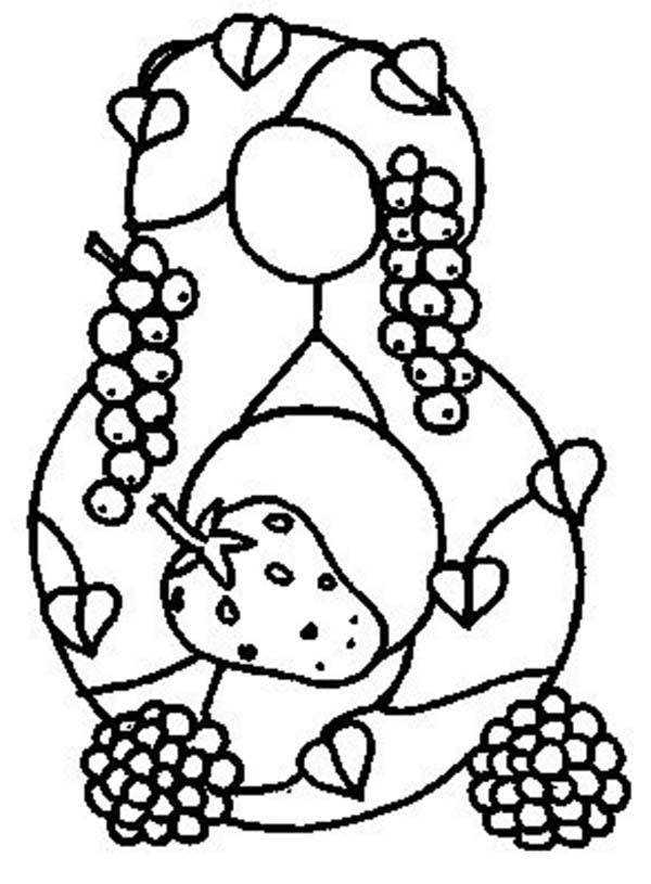 Learn Number 8 With Eight Fruits Coloring Page