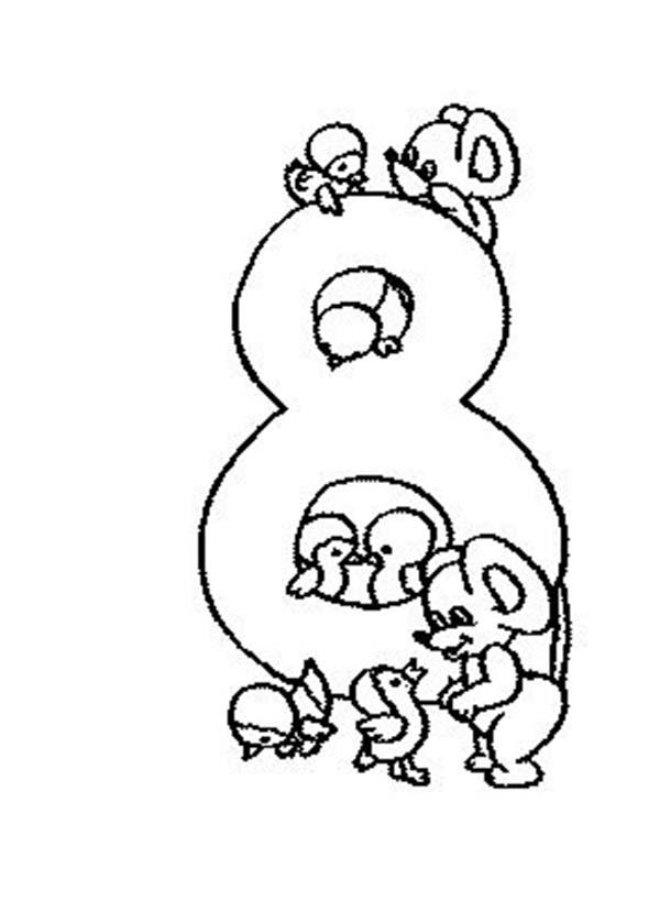 Learn Number 8 With Eight Rats Coloring Page