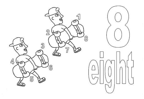 Learn Number 8 With Eight Skateboard Wheels Coloring Page