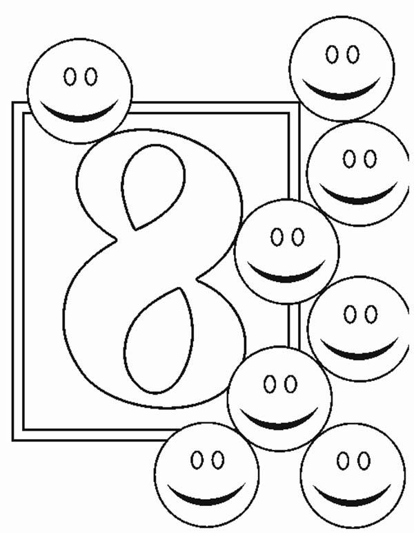 Learn Number 8 With Eight Smiley Faces Coloring Page